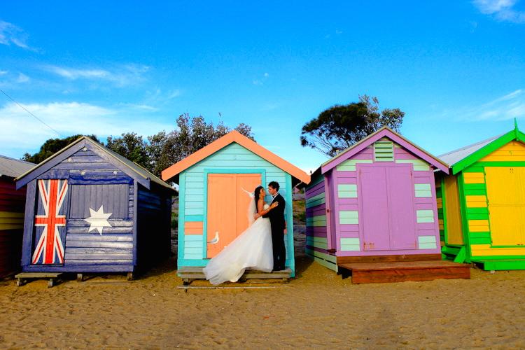 Brighton beach hut Wedding photographs