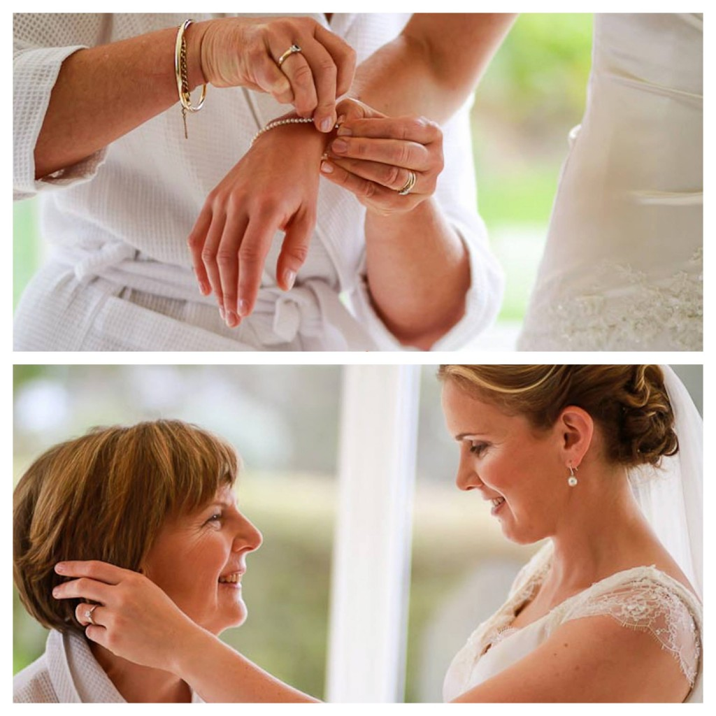 mother and daughter moment before wedding