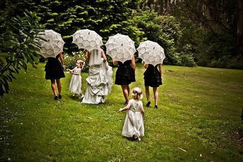 Pretty parasols summer rain wedding